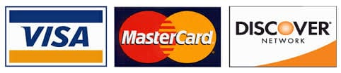 We accept Visa, MasterCard and Discover Card.